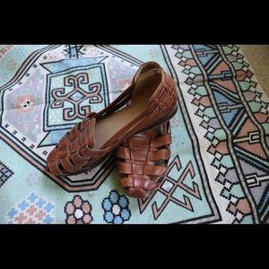 Hurrache Leather Woven Sandals sz 6